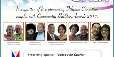 Recognition of five pioneering Filipino Canadian couples with Community Builder Awards 2014