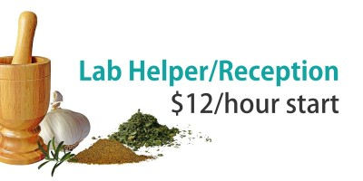 Lab Helper/Reception Needed – $12/hour start